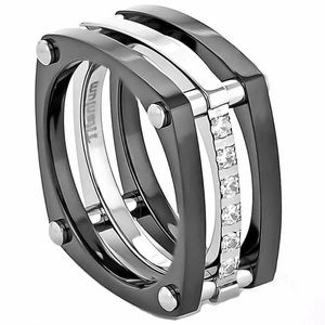 Titanium ring black silver